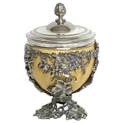 19th Century English Silver Plated Ostrich Egg Box Attributed to Elkington & Co.
