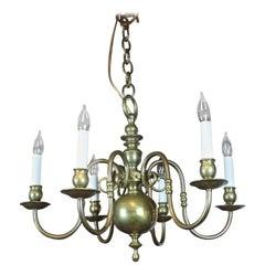 19th Century English Six-Arm Brass Chandelier