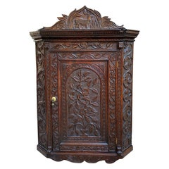 19th Century English Small Carved Oak Corner Wall Cabinet Victorian Stag Deer