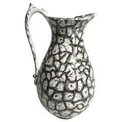 19th Century English Staffordshire Pottery Pitcher in Black, White and Green