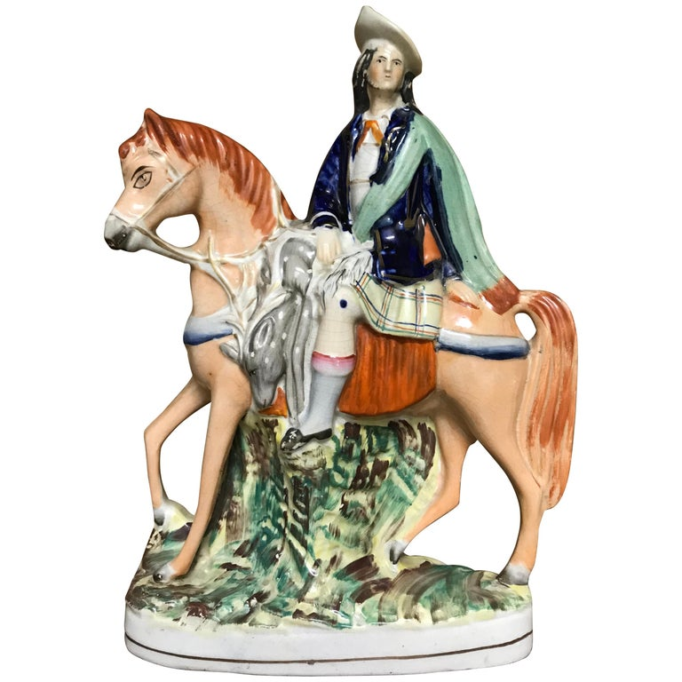 19th Century English Staffordshire Scottish Hunter on Horseback For Sale