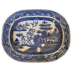 19th Century English Staffordshire Transfer Pearlware Blue Willow Charger