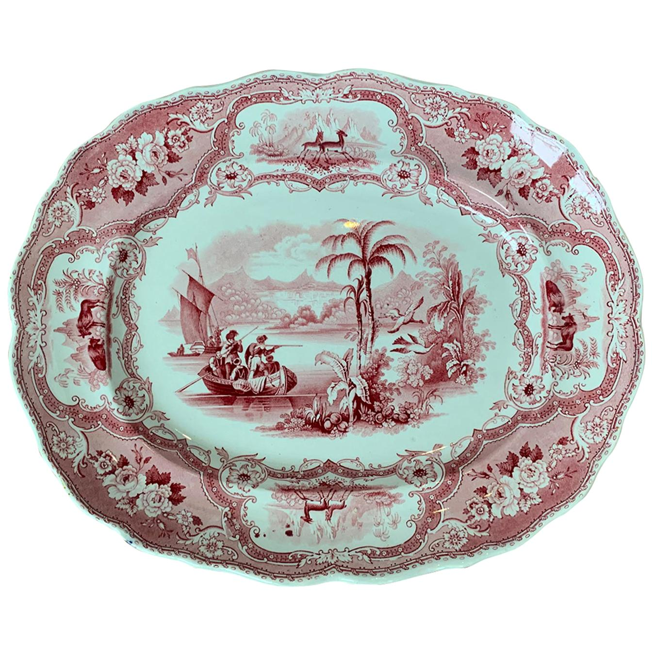19th Century English Staffordshire Transferware Charger Columbus Pattern, Marked