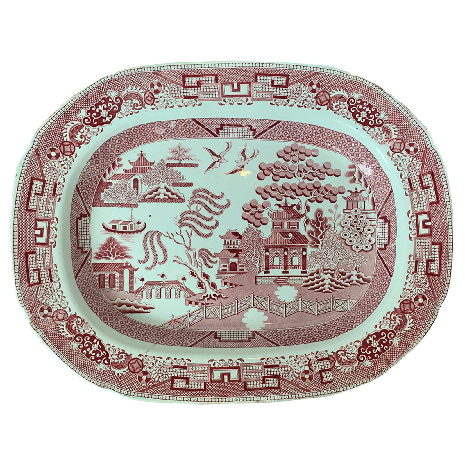 19th Century English Staffordshire Willow Pattern Charger by Davenport, Marked