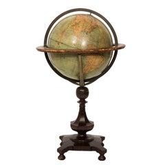 19th Century English Standing Library World Globe