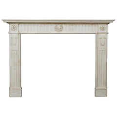 19th Century English Statuary Marble Fireplace Mantel