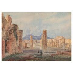 "19th Century English ""The Forum"" Grand Tour Pompeii Watercolor"