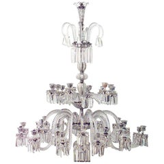 19th Century English Three-Tiered Crystal Chandelier by Osler