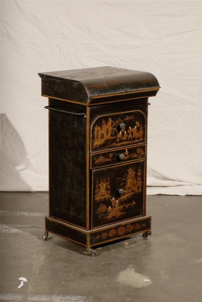 19th Century English Tole Chinoiserie Toilette , lid lifts.