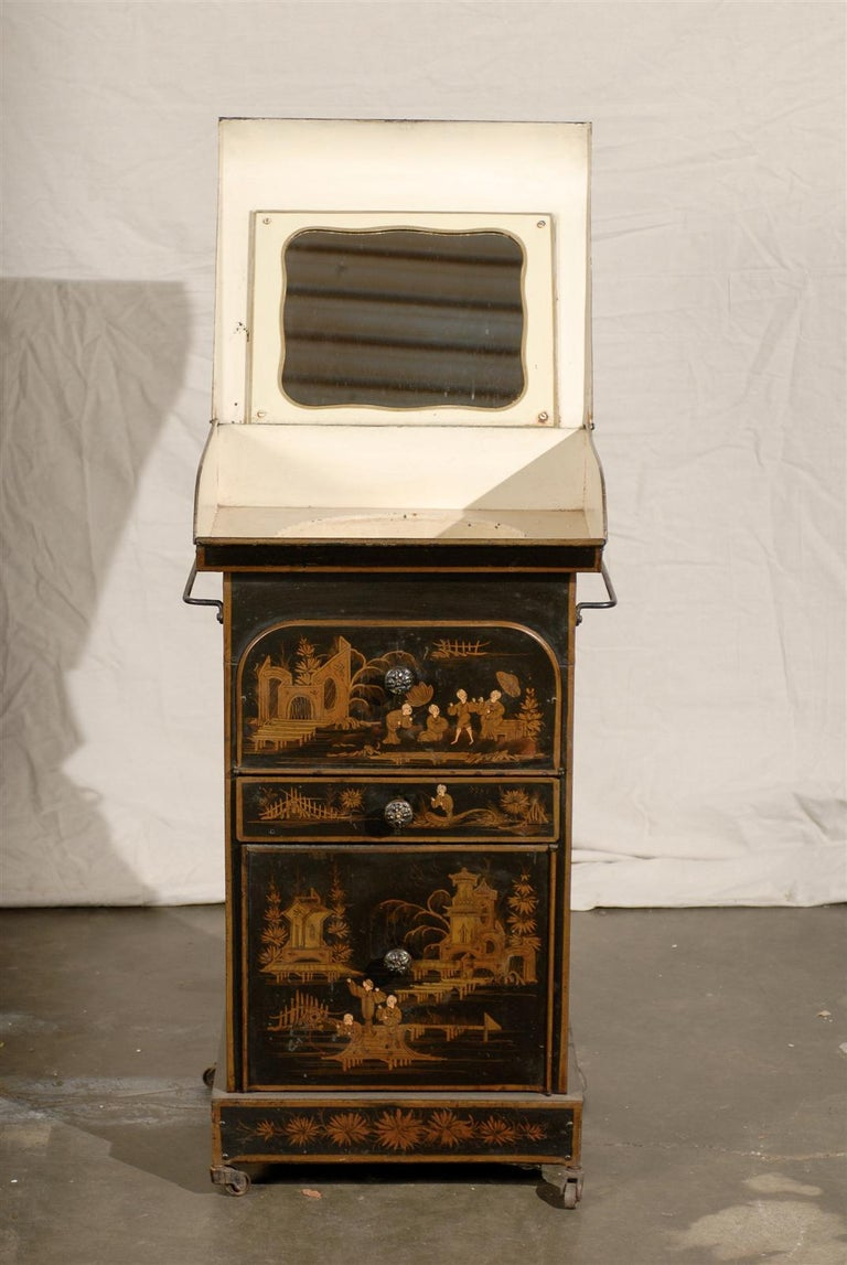 Tôle 19th Century English Tole Chinoiserie Toilette, Lid Lifts For Sale
