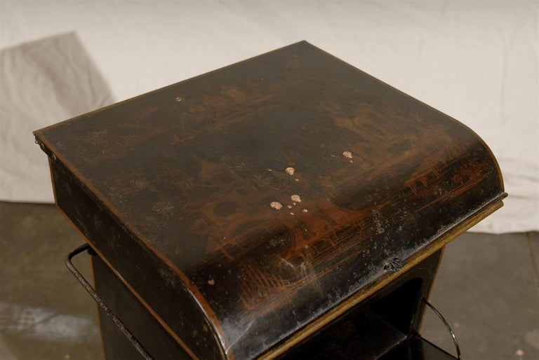 19th Century English Tole Chinoiserie Toilette, Lid Lifts For Sale 3