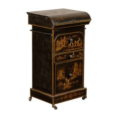 19th Century English Tole Chinoiserie Toilette, Lid Lifts
