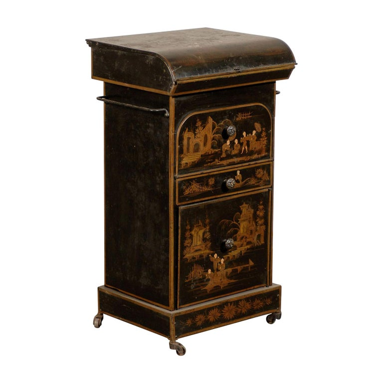 19th Century English Tole Chinoiserie Toilette, Lid Lifts For Sale