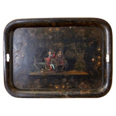 19th Century English Tole Lacquer Renaissance Revival Tray