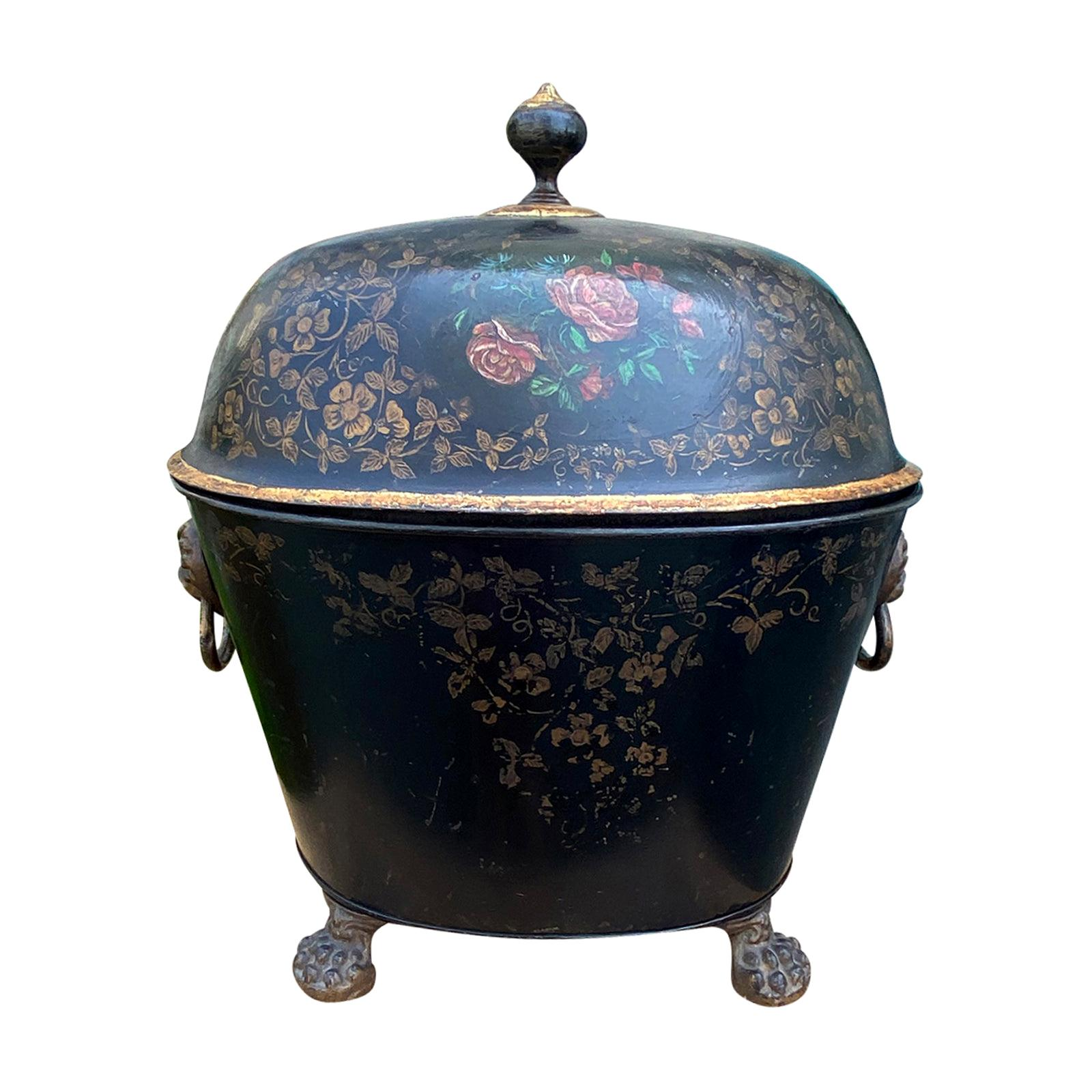 19th Century English Tole Lidded Coal Hod with Lions Head