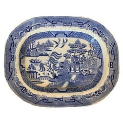 19th Century English Transfer Pearlware Blue Willow Charger / Meat Platter