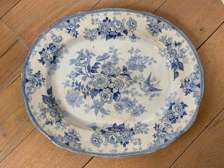 19th Century English Transferware Charger in Asiatic Pheasants Pattern Signed JF In Good Condition For Sale In Atlanta, GA