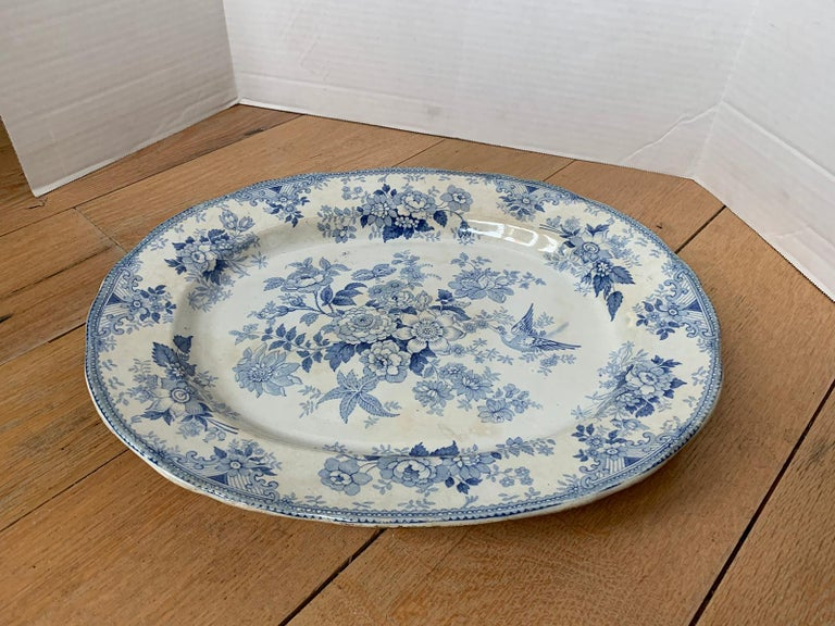 Porcelain 19th Century English Transferware Charger in Asiatic Pheasants Pattern Signed JF For Sale