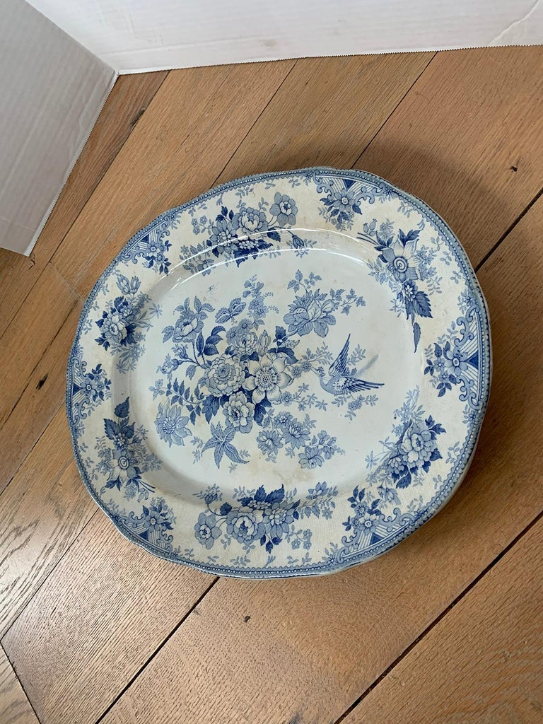 19th Century English Transferware Charger in Asiatic Pheasants Pattern Signed JF For Sale 2