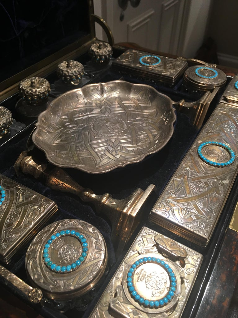 Silver 19th Century English Travelling Dressing Case For Sale