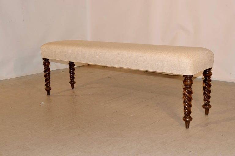 Victorian 19th Century English Upholstered Bench For Sale