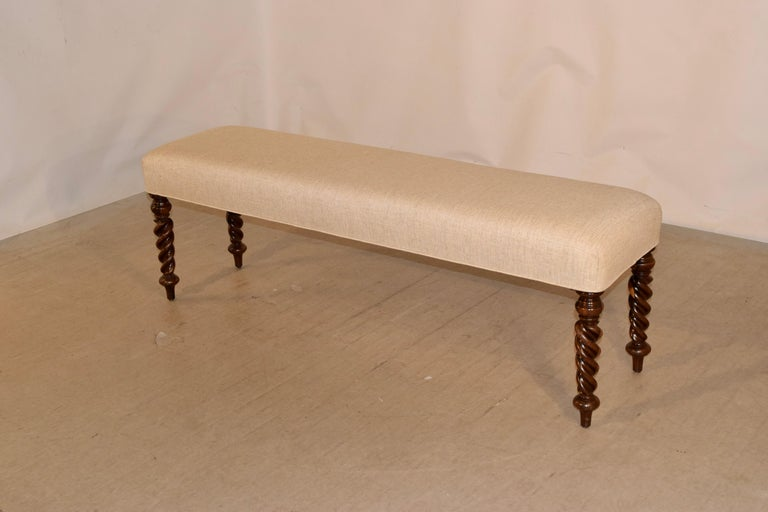 19th Century English Upholstered Bench In Good Condition For Sale In High Point, NC