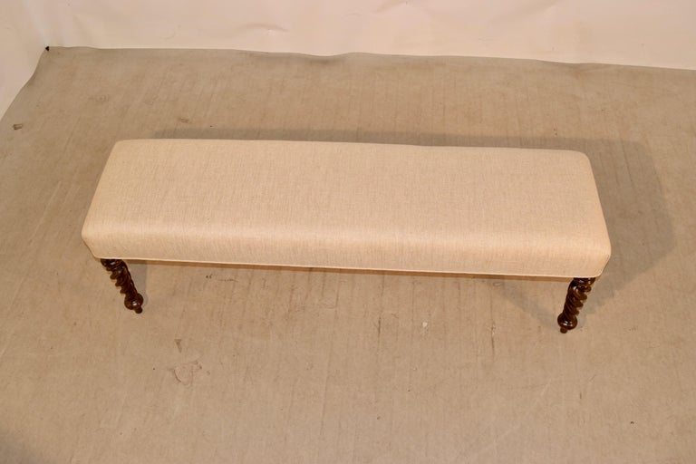 Linen 19th Century English Upholstered Bench For Sale