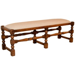 19th Century English Upholstered Low Bench