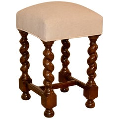 19th Century English Upholstered Stool