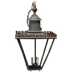 19th Century English Verdigris Oversized Glazed Lantern
