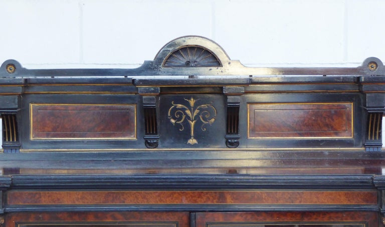 Ebonized 19th Century English Victorian Aesthetic Movement Credenza by Gillows For Sale
