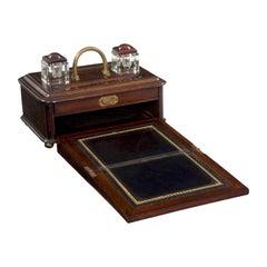 19th Century English Victorian Antique Oak Writing Desk Traveling Box