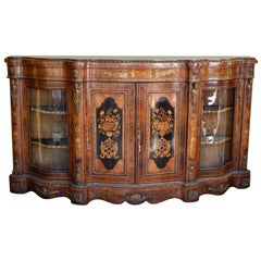 19th Century English Victorian Burl Walnut and Marquetry Serpentine Credenza
