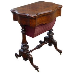 19th Century English Victorian Burl Walnut Games Table
