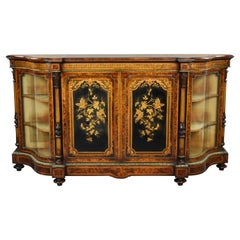 19th Century English Victorian Burl Walnut Marquetry Credenza by Gillow