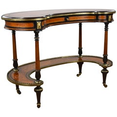 19th Century English Victorian Burl Walnut Writing Table by Gillows of Lancaster