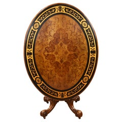 19th Century English Victorian Burr Walnut and Marquetry Oval Breakfast Table