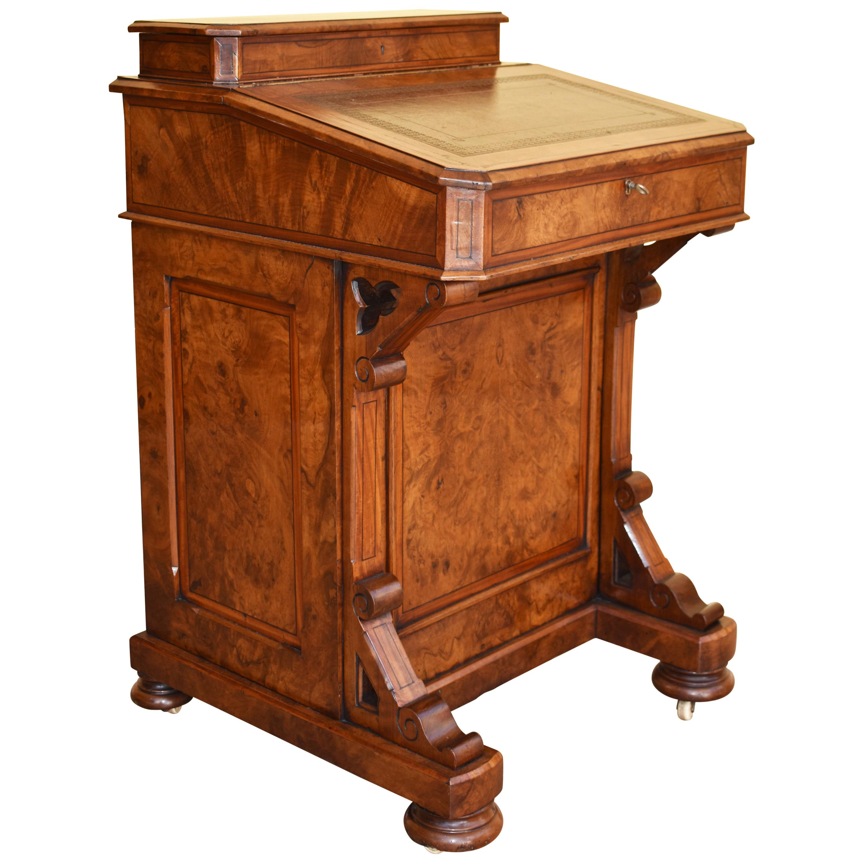 19th Century English Victorian Burr Walnut Davenport
