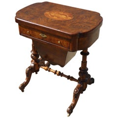 19th Century English Victorian Burr Walnut Games Table