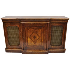 19th Century English Victorian Burr Walnut Inlaid Credenza Cabinet Buffet
