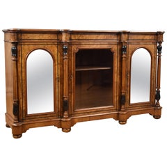 19th Century English Victorian Burr Walnut Inlaid Credenza