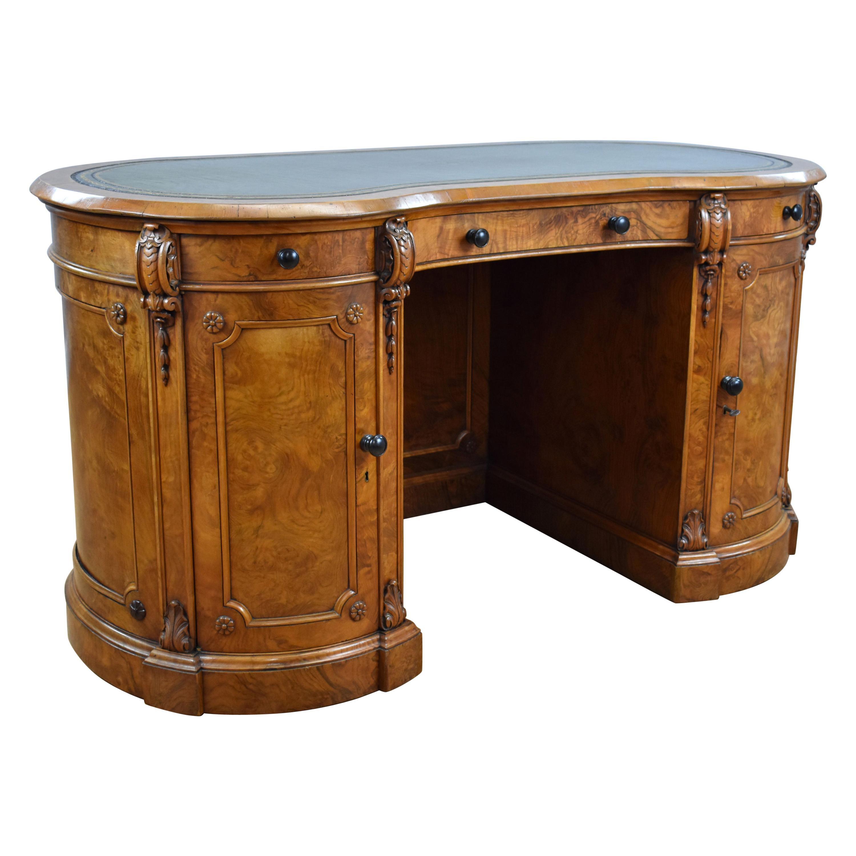 19th Century English Victorian Burr Walnut Kidney Shaped Writing Desk