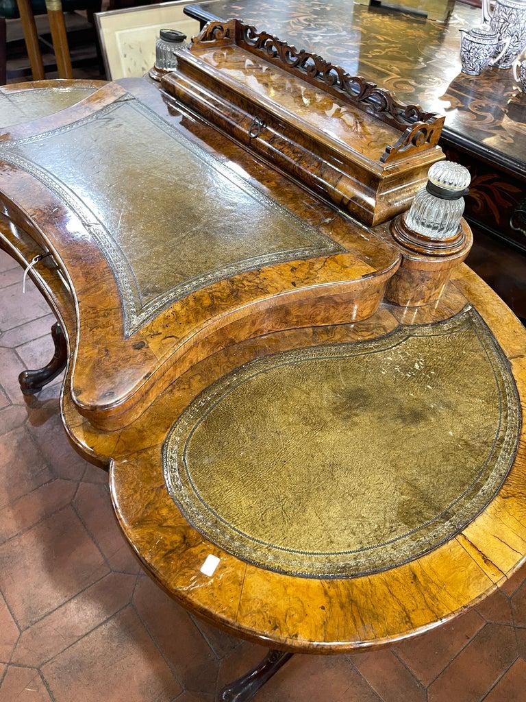 Mid-19th Century 19th Century English Victorian Burr Walnut Ladies Desk Writing Table, 1850 For Sale