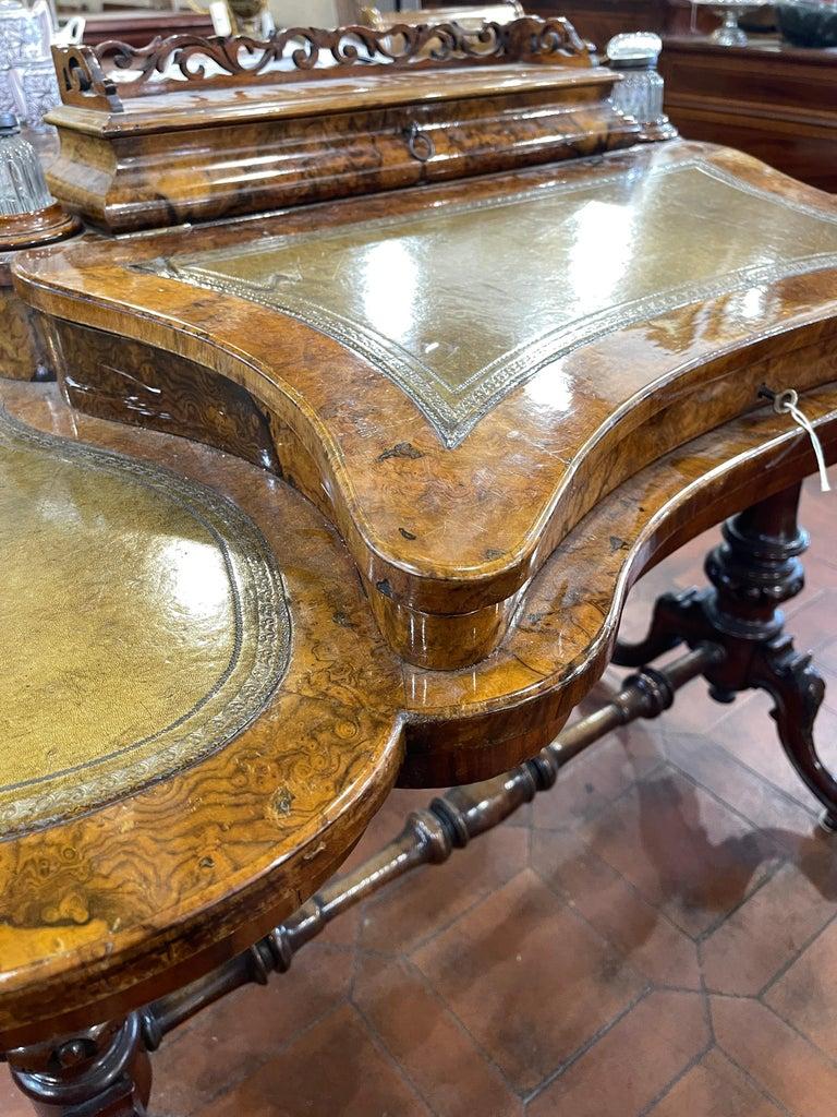 19th Century English Victorian Burr Walnut Ladies Desk Writing Table, 1850 For Sale 3
