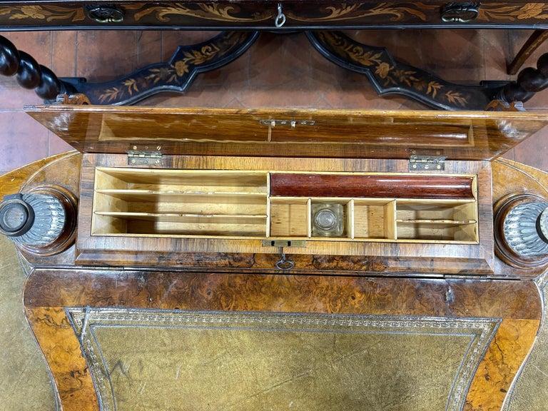 19th Century English Victorian Burr Walnut Ladies Desk Writing Table, 1850 For Sale 4