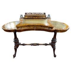 19th Century English Victorian Burr Walnut Ladies Desk Writing Table, 1850