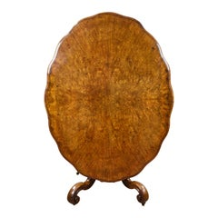 19th Century English Victorian Burr Walnut Loo Table