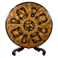 19th Century English Victorian Burr Walnut & Marquetry Circular Breakfast Table