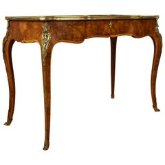 19th Century English Victorian Burr Walnut Marquetry Writing Table
