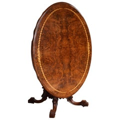 19th Century English Victorian Burr Walnut Oval Dining Table